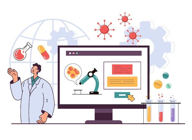 Personagens de cientistas médicos fazendo pesquisas de laboratório médico de medicamentos