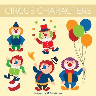 Personagens de circo coloridos