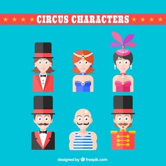 Personagens de circo em design plano