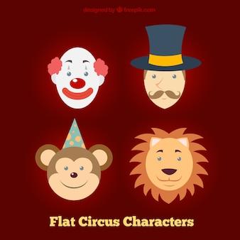 Personagens de circo faces planas