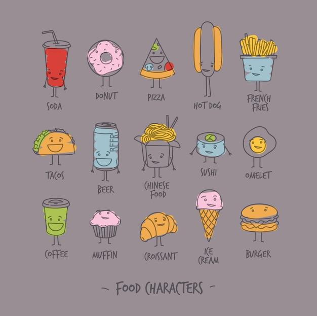 Personagens de comida cinza