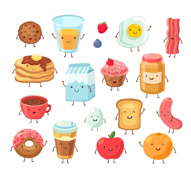 Personagens de comida de café da manhã. os desenhos animados engraçados almoço maçã ovos torradas sal bolo.