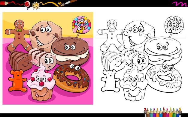 Personagens de comida doce livro de colorir