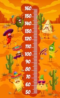 Personagens de comida mexicana no gráfico de altura infantil