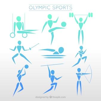 Personagens de competições esportivas internacionais em estilo abstrato
