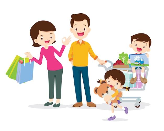 Personagens de compras da família