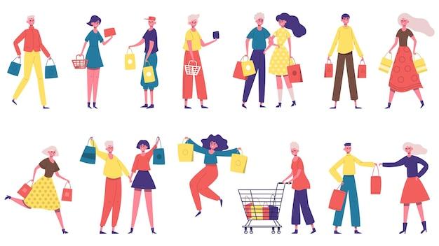 Personagens de compras. homens e mulheres carregando sacolas de compras, pessoas viciadas em compras no mercado ou em uma butique
