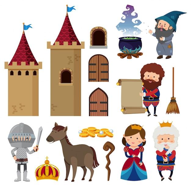 Personagens de conto de fadas e torres de castelo