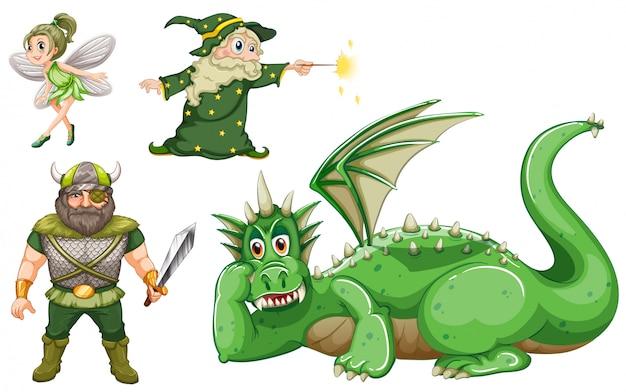 Personagens de conto de fadas em verde