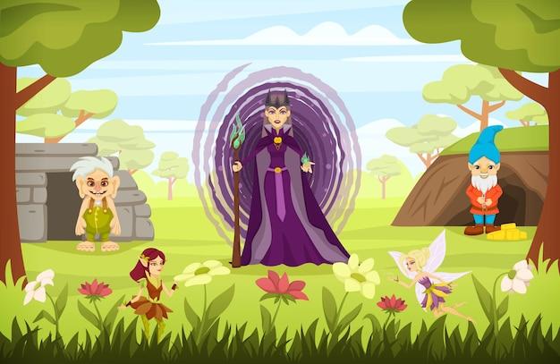 Personagens de contos de fadas com composição colorida de desenho animado com a feiticeira malvada Vetor Premium