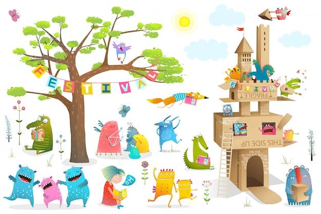 Personagens de contos de fadas filhos bonitos com castelo de papelão construindo elementos de design.