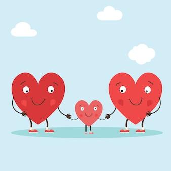 Personagens de corações como símbolos do amor e da família