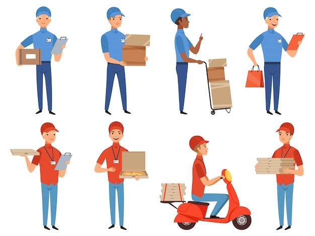 Personagens de correio pizza, fast-food entregar trabalhando em várias ações mascote poses em estilo cartoon