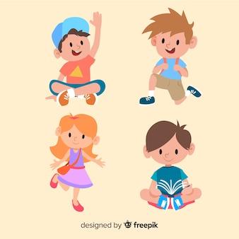 Personagens de crianças alegres, estudando e brincando