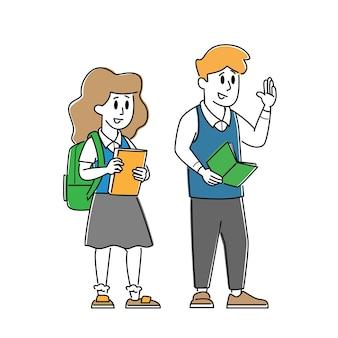Personagens de crianças alunos usando uniforme com mochilas e livros didáticos