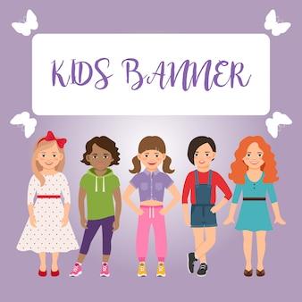 Personagens de crianças com meninas