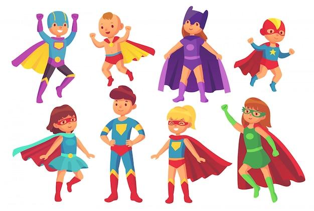 Personagens de crianças de super-herói dos desenhos animados