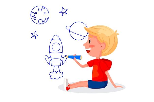 Personagens de crianças estão desenhando nas paredes brancas. dia internacional das crianças. atividades de verão para crianças. ilustrações vetoriais.