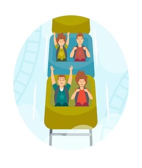 Personagens de crianças felizes andando de montanha-russa no parque de diversões. animado meninos e meninas se divertindo no carro da montanha-russa. recreação de fim de semana, extreme, family leisure. ilustração em vetor desenho animado