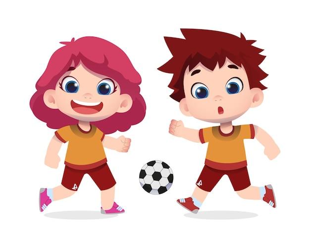 Personagens de crianças fofas felizes se divertem jogando bola