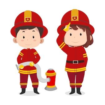 Personagens de crianças fofo bombeiro