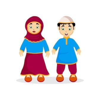 Personagens de crianças muçulmanas usando vestidos islâmicos, celebrando o mês sagrado do ramadã kareem.