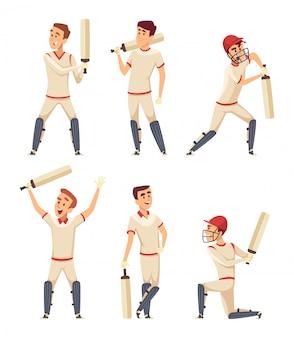Personagens de críquete. conjunto de vários jogadores do esporte em poses de ação