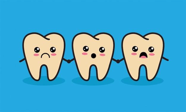 Personagens de dentes pouco saudáveis kawaii bonito. conceito de cárie ou cárie dentária