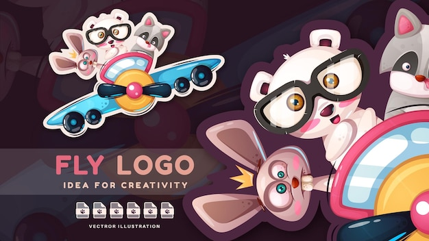 Personagens de desenho animado bonitos amigos voam