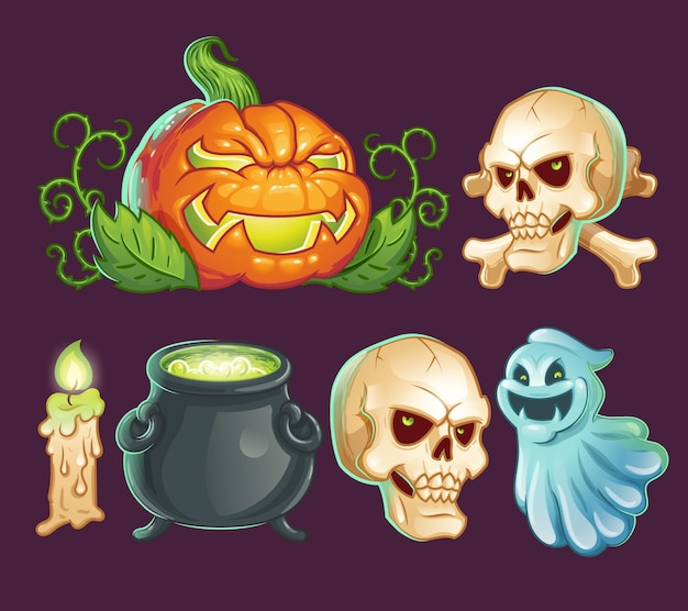 Personagens de desenho animado, ícones, adesivos para halloween