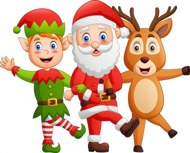 Personagens de desenho animado, papai noel, veados, elfos, estilo de dança.