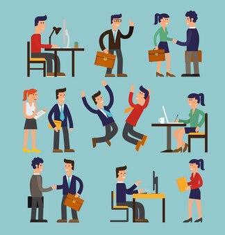 Personagens de desenho vetorial de empresários