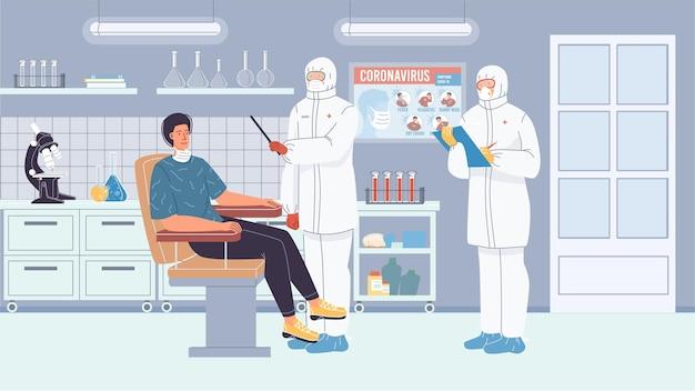 Personagens de desenho vetorial plana - médicos em trajes de proteção fazendo testes