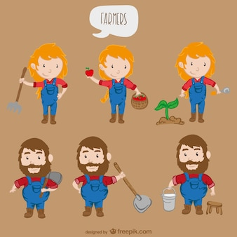 Personagens de desenhos animados agricultores