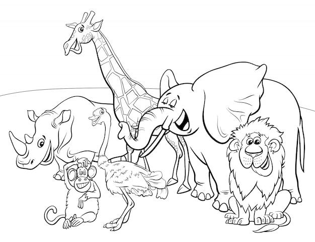 Personagens De Desenhos Animados Animais Safari Livro Para Colorir