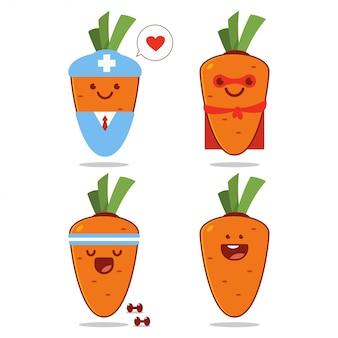 Personagens de desenhos animados bonitos cenouras conjunto isolado em um fundo branco.