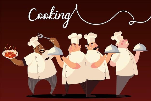 Personagens de desenhos animados chef grupo cozinhar prato jantar ilustração vetorial