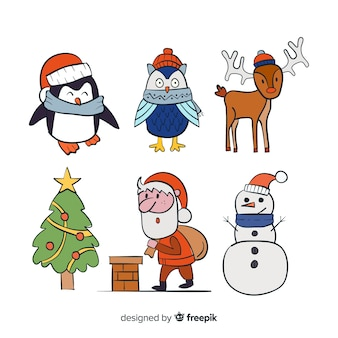 Personagens de desenhos animados coleção de natal