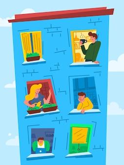 Personagens de desenhos animados coloridos pessoas no windows