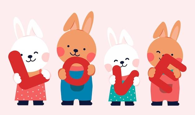 Personagens de desenhos animados com coelhos segurando o texto amor