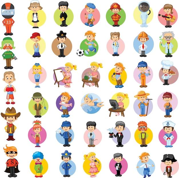 Personagens de desenhos animados com diferentes profissões