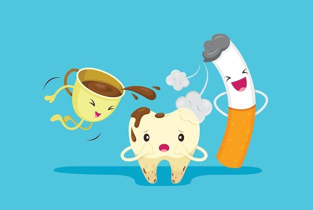 Personagens de desenhos animados com problema de dente cariado com fumaça e café