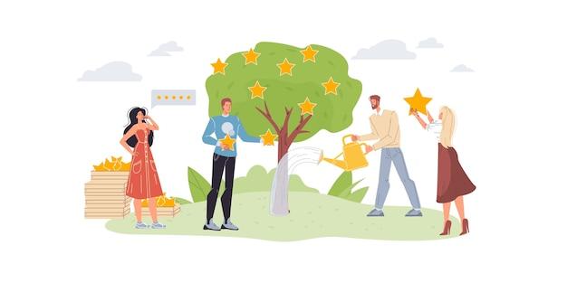 Personagens de desenhos animados crescem e colhem estrelas de classificação - mídia social, comunicação, conceito criativo para web online, site