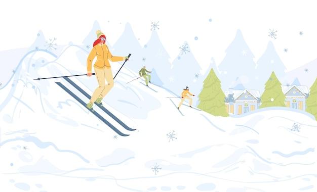 Personagens de desenhos animados da família fazendo atividades ao ar livre de inverno, esquiando na neve, estilo de vida saudável, esporte e conceito de resort de esqui
