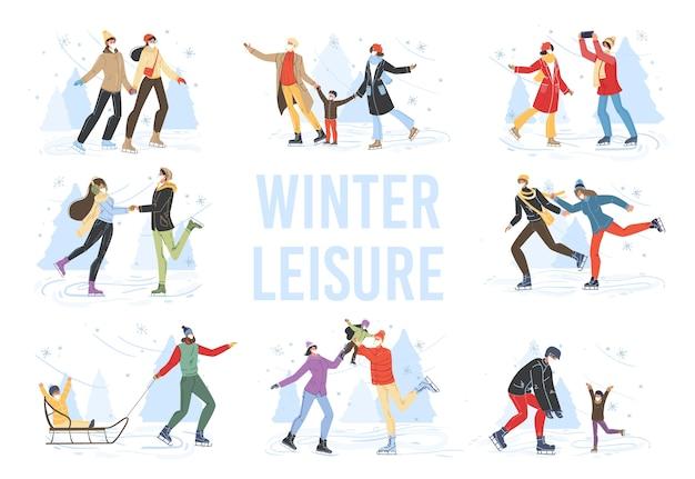 Personagens de desenhos animados da família fazendo atividades esportivas ao ar livre no inverno, esqui, patinação no gelo e trenó na neve