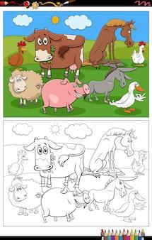 Personagens de desenhos animados de animais de fazenda para colorir página