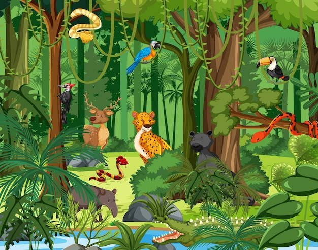 Personagens de desenhos animados de animais selvagens na cena da floresta