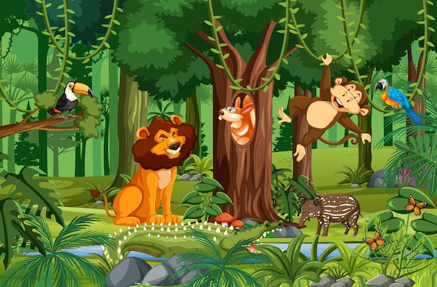 Personagens de desenhos animados de animais selvagens na floresta