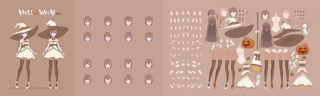 Personagens de desenhos animados de anime manga menina para banner de animação