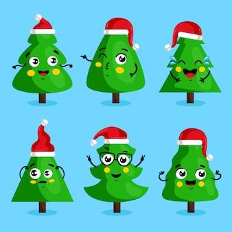 Personagens de desenhos animados de árvore de natal verde